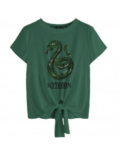 T-shirt Femme Harry Potter - Slytherin Revers Sequin
