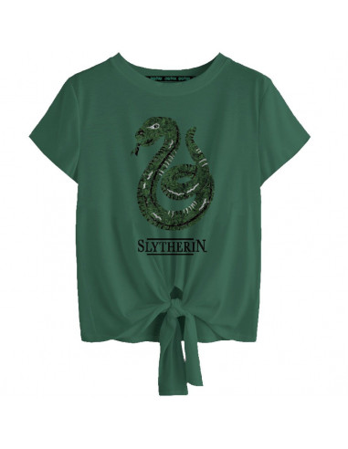 Harry Potter Woman's T-shirt - Slytherin Revers Sequin
